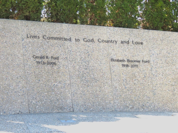 Gerald Ford's memorial at the Gerald Ford Presidential Library and Museum in Grand Rapids, Michigan