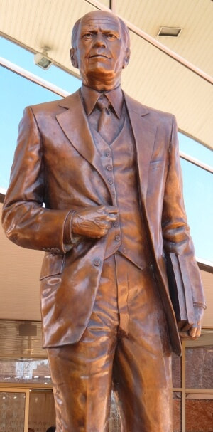 Statue of President Gerald Ford at the Gerald Ford Presidential Library and Museum in Grand Rapids, Michigan