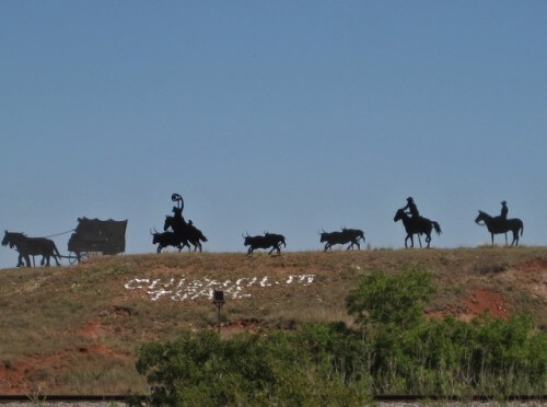 Ghost Riders of the Chisholm Trail silhouettes in Caldwell, Kansas (photo by Sheila Scarborough)