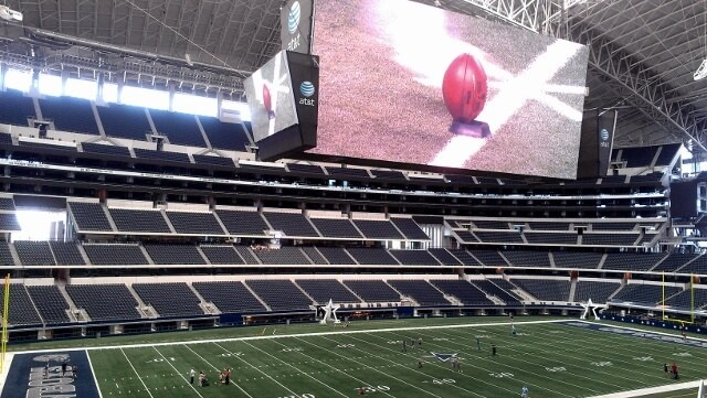 Giant screen inside Cowboys Stadium Arlington TX (photo by Sheila Scarborough)