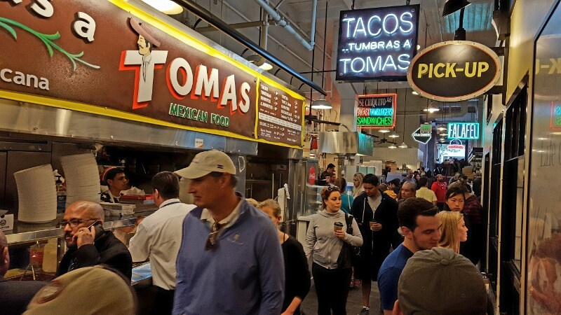 Grand Central Market food hall in downtown Los Angeles CA (photo by Sheila Scarborough)