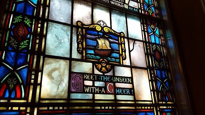 Greet the unseen with a cheer stained glass window in Armstrong Browning Library Waco TX (photo by Sheila Scarborough)