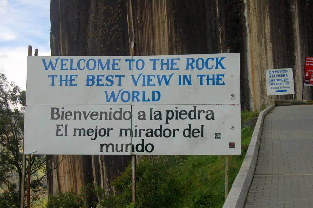 Welcome to the rock. The sign, at least. La Piedra, Guatape, Colombia.