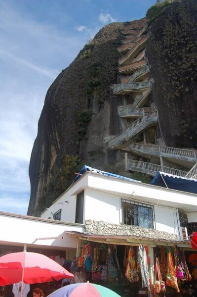 A look up at the almost never-ending stairs of La Piedra, Guatape, Colombia.