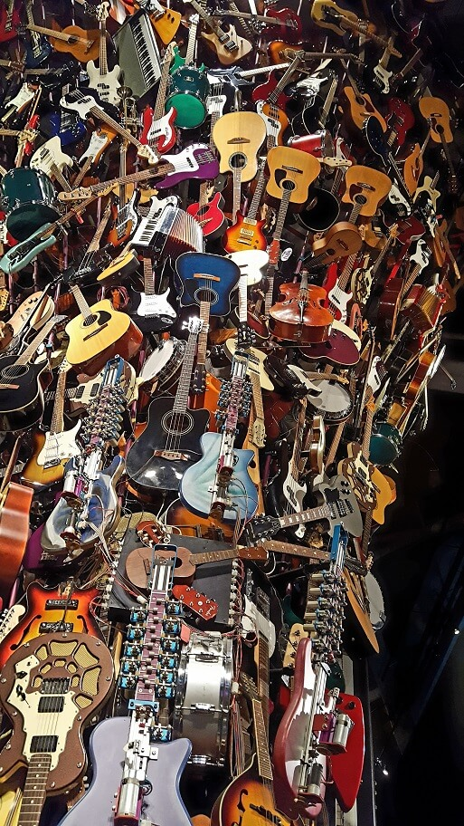 Guitar sculpture with guitars that play preprogrammed music at MoPOP in Seattle (photo by Sheila Scarborough)