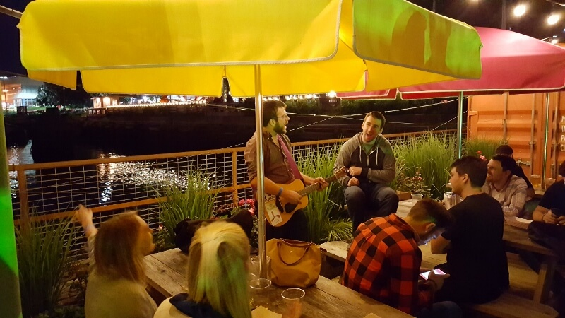 Hanging out and doing a little singing at Spruce Street Harbor Park in Philadelphia (photo by Sheila Scarborough)