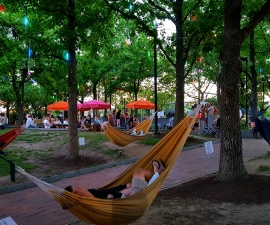 Hanging out in a Spruce Street Harbor Park hammock during a summer evening on the water in Philadelphia (photo by Sheila Scarborough)