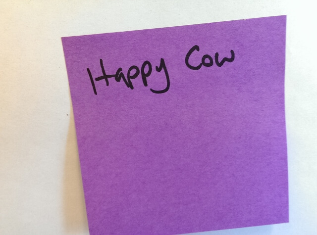 Happy Cow travel app sticky SXSWi travel meet up 2015 (photo by Sheila Scarborough)