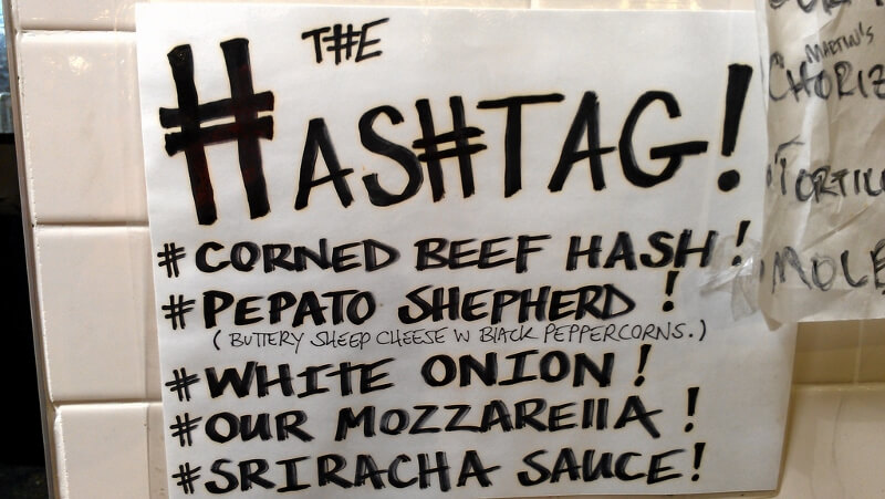 Hashtag sandwich ingredients at Meltkraft Grilled Cheese in Philadelphia's Reading Terminal Market food halls (photo by Sheila Scarborough)