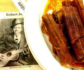 Have some Robert Johnson with your tamales at Abe's BBQ at the Crossroads in Clarksdale Mississippi (photo by Sheila Scarborough)