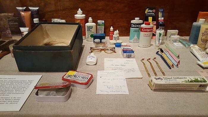 He kept everything. Andy Warhol medicine cabinet at the Warhol Museum Pittsburgh (photo by Sheila Scarborough)