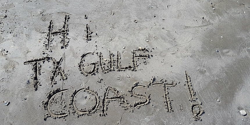 Hi Texas Gulf Coast in the sand Port Aransas and Rockport Fulton beaches are open (photo by Sheila Scarborough)