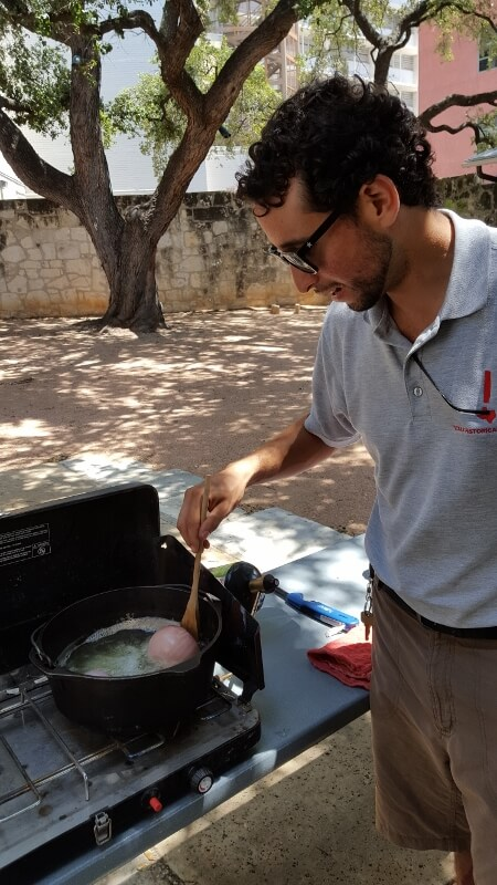 Historic cooking class with Texas Historical Commission staff Emiliano Calderon in the courtyard at Casa Navarro State Historic Site San Antonio TX (photo by Sheila Scarborough)