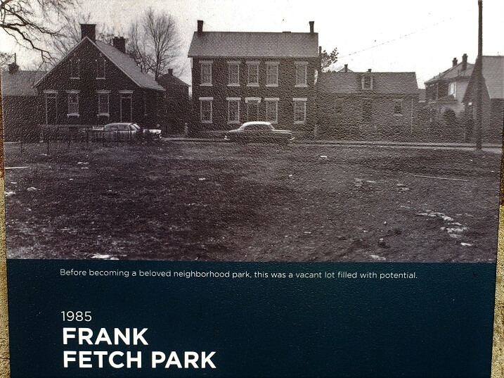 Historic info placard Frank Fetch Park German Village Columbus OH (photo by Sheila Scarborough)