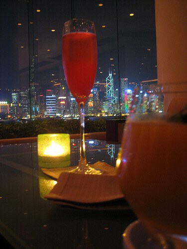 Hong Kong harbor from the lobby bar of the Intercontinental, Kowloon side (courtesy TimShoesUntied at Flickr CC)