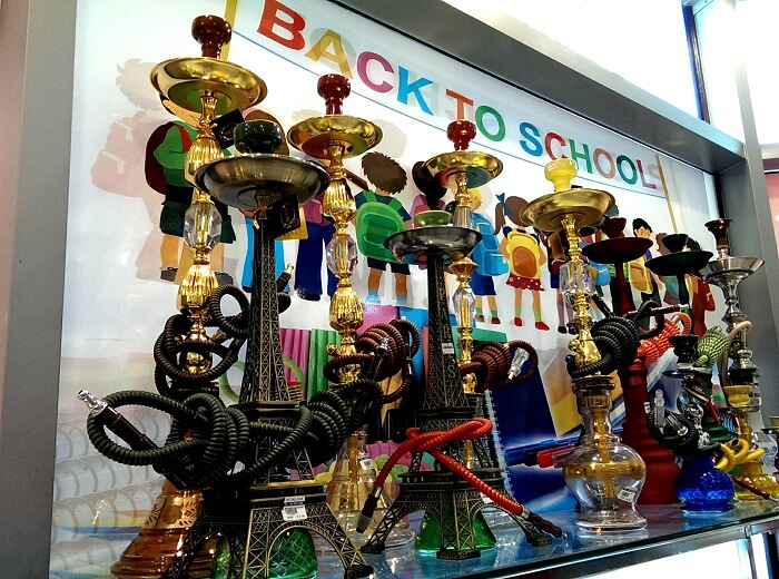 Hookah for back to school? In a Dubai shop (photo by Sheila Scarborough)