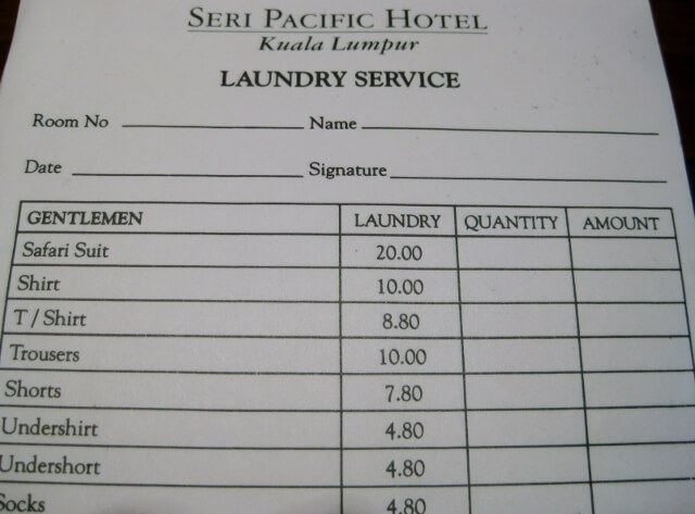 Hotel laundry form, Kuala Lumpur (photo by Sheila Scarborough)