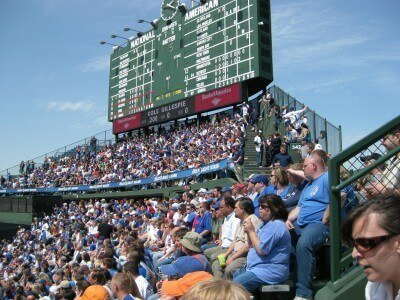 My fellow Bleacher Bums at Wrigley Field, Chicago (photo by Sheila Scarborough)