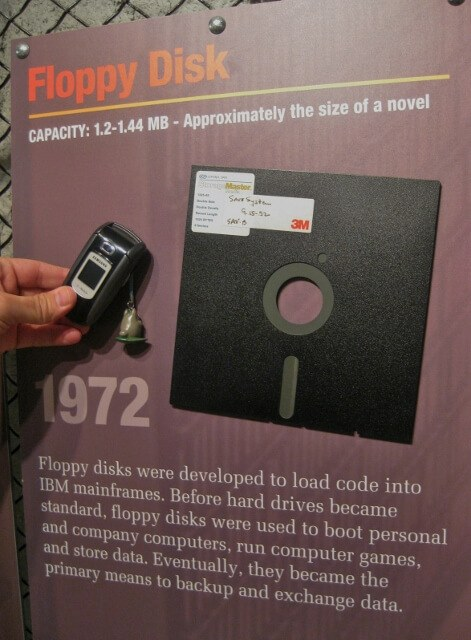 Floppy disk exhibit in Kansas Underground Salt Museum (photo by Sheila Scarborough)