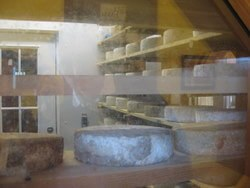 Viewpoint into a cheese-ageing room at Sprout Creek Farm
