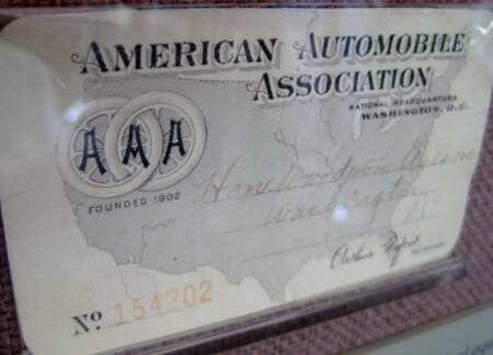 President Woodrow Wilson's AAA card (photo by Sheila Scarborough)