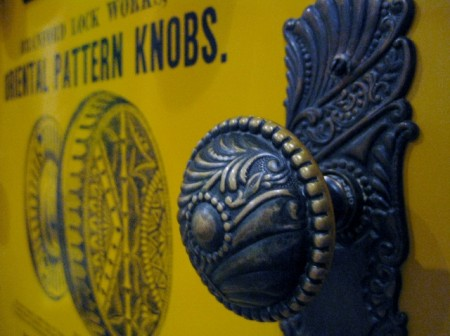 Decorative door knob, Huntington, Hopkins and Co Hardware Store, Old Sacramento (photo by Sheila Scarborough)