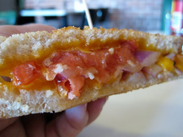 Grilled cheese sandwich with tomato and onion at Blue Dome Diner, Tulsa (photo by Sheila Scarborough)