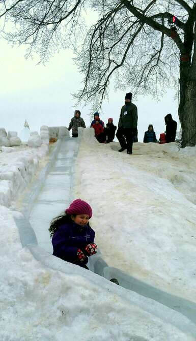 Ice slide for kids at Silver Skate Festival in Edmonton Alberta (photo by Sheila Scarborough)