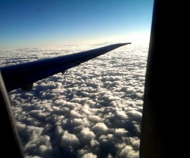 In flight far above the clouds (photo by Sheila Scarborough)