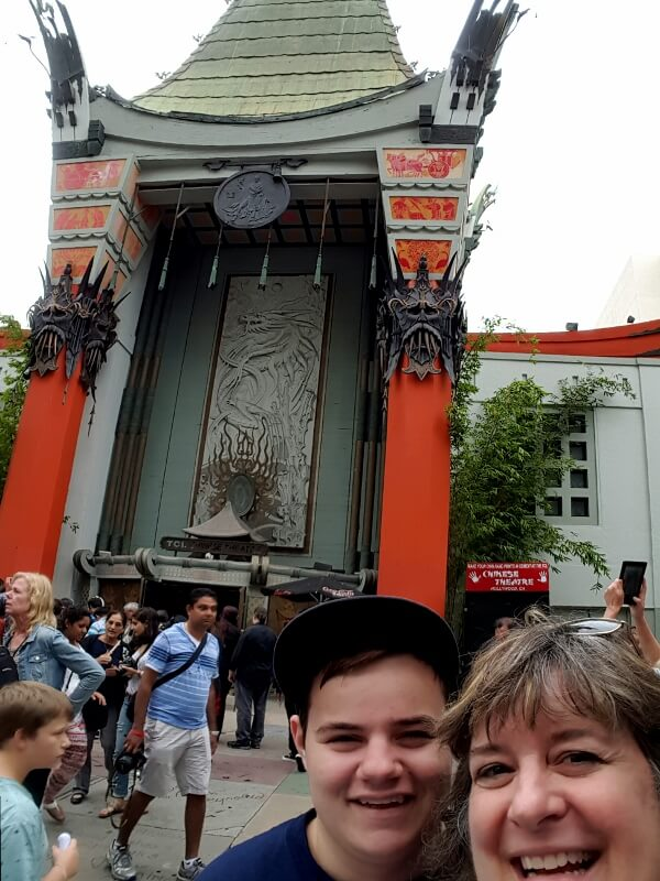 In front of TCL Chinese Theatre formerly Grauman's or Mann's in Hollywood CA (photo by Sheila Scarborough)