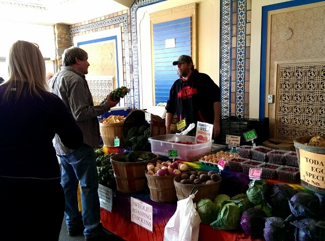 Agritourism is important to Main Street towns - in winter the Kenosha WI HarborMarket farmers market moves indoors to the Rhode Center for the Arts (photo by Sheila Scarborough)
