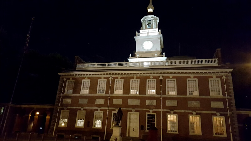 Independence Hall in Philadelphia at night (photo by Sheila Scarborough)