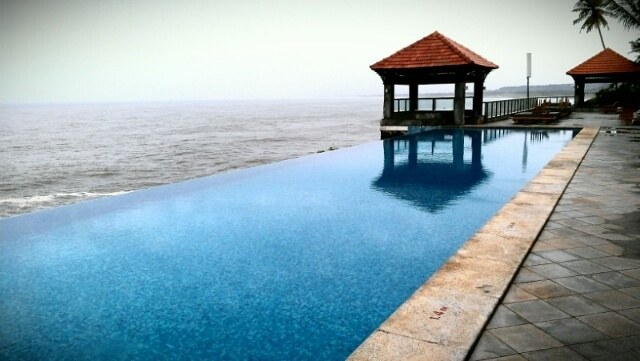 Infinity pool at the Leela Kovalam Kerala India (photo by Sheila Scarborough)