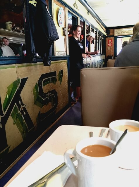 Inside historic Frank's Diner in downtown Kenosha, Wisconsin (photo by Sheila Scarborough)