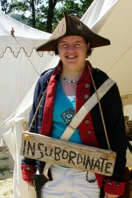 Insubordinate militia teen at the Yorktown Victory Center, Virginia (photo by Sheila Scarborough)