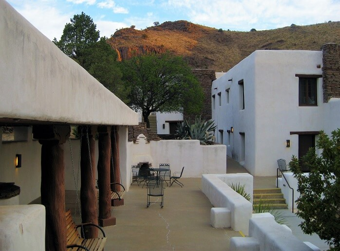 Interior courtyard at the Indian Lodge in Fort Davis TX (photo by Sheila Scarborough)