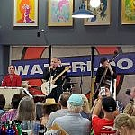 Jimmie Vaughan performs at a Waterloo Records in-store free concert in Austin Texas May 2019 (photo by Sheila Scarborough)