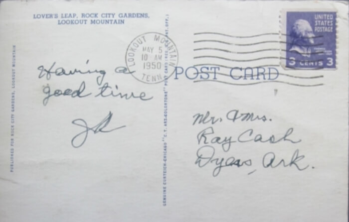 A postcard home from a teenage Johnny Cash to his parents, at the Johnny Cash Museum in Nashville