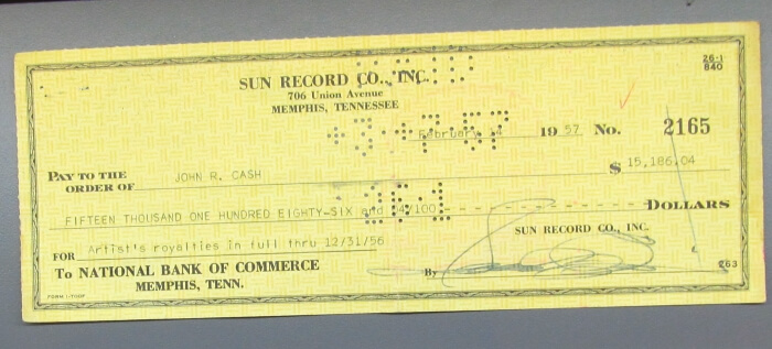 A Sun Records royalty check for Johnny Cash on display at the Johnny Cash Museum in Nashville