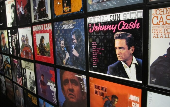 A wall of album covers at the Johnny Cash Museum in Nashville