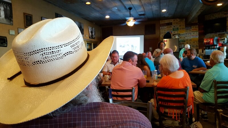 Judges getting breakfast at Jacoby's before the Brady TX Goat BBQ Cookoff (photo by Sheila Scarborough)