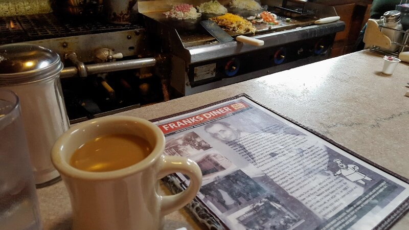 Just ordered breakfast at Frank's Diner in downtown Kenosha WI (photo by Sheila Scarborough)