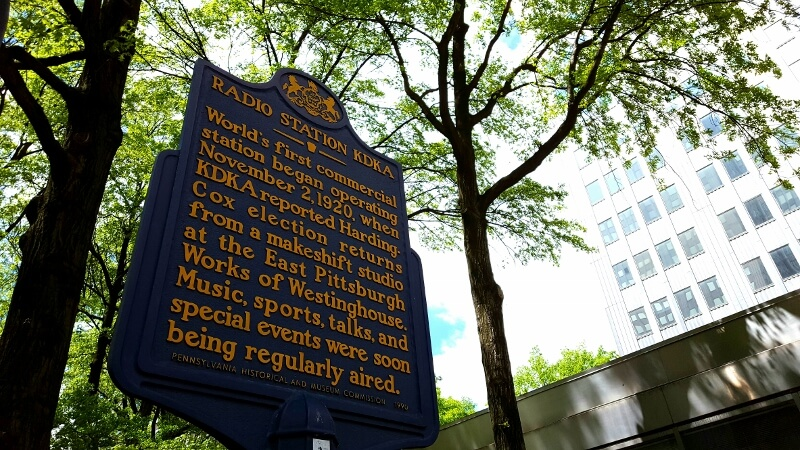 KDKA historical marker for first commercial radio station Pittsburgh (photo by Sheila Scarborough)