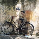 Kids on a Bicycle Street Art #2