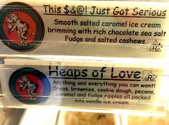 Main Street town humor - know what you're getting at Scoops Ice Cream shop in downtown Kenosha, Wisconsin (photo by Sheila Scarborough)