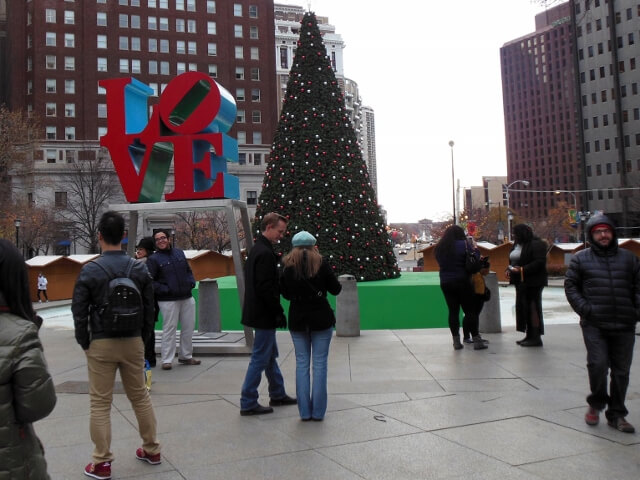 LOVE sculpture in Philadelphia getting dressed for the holidays (photo by Sheila Scarborough)