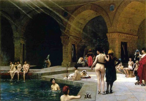 Orientalist fantasy of the hamam - Jean-Léon Gérôme, Women at a Bath, Salon of 1885.