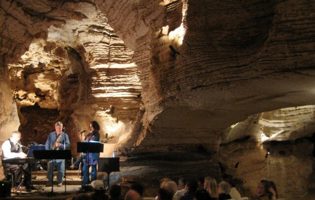 The Lake Bottom Jazz Trio plays Longhorn Cavern between Burnet and Marble Falls, Texas in the Highland Lakes area (photo by Sheila Scarborough)