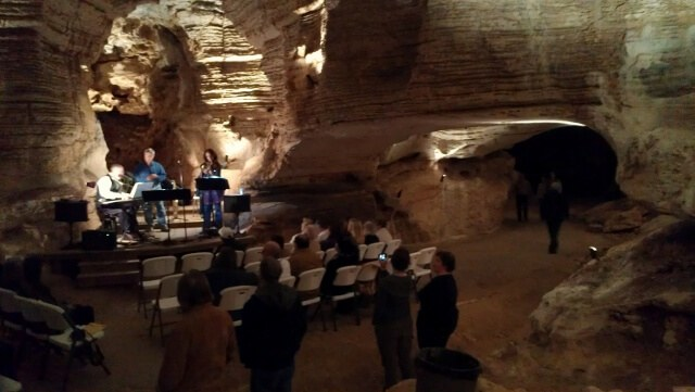 Lake Bottom Jazz Trio plays on during concert intermission at Longhorn Cavern State Park (photo by Sheila Scarborough)