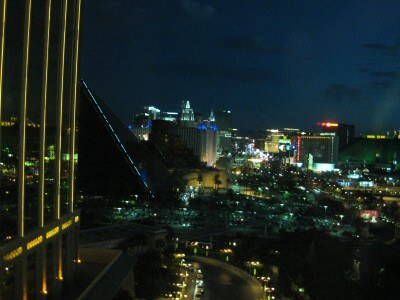 Las Vegas Strip early morning from Mandalay Bay, 15th floor. Kind of blurry; like my stay there.